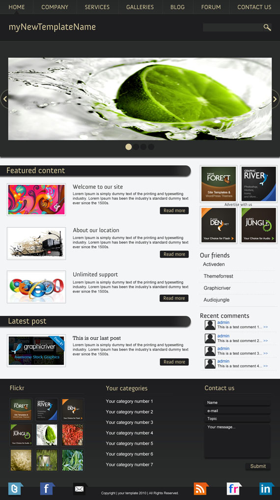 Freebie psd website template