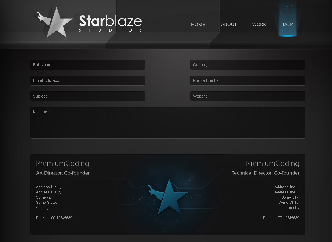 starBlaze contact page