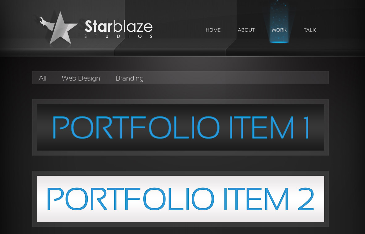 starBlaze Work page