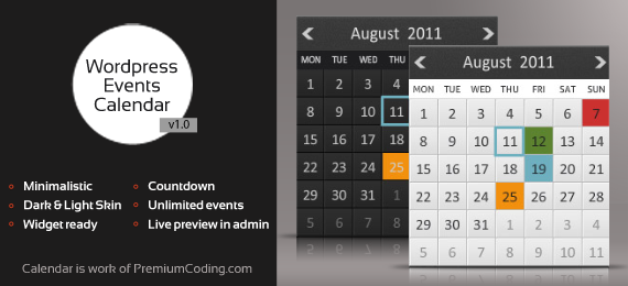 Wordpress Minimalistic Events Calendar