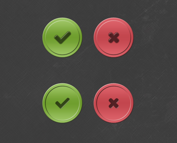 Tick and Cross Buttons PSD
