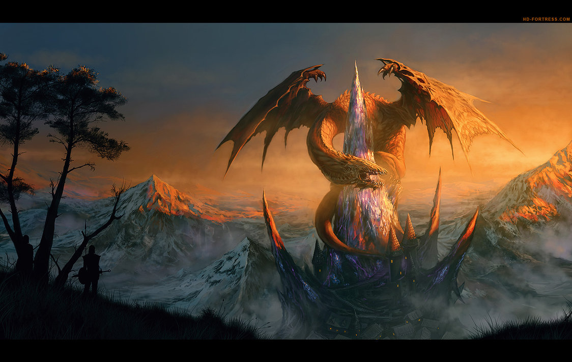 Amazing dragon castle illustration