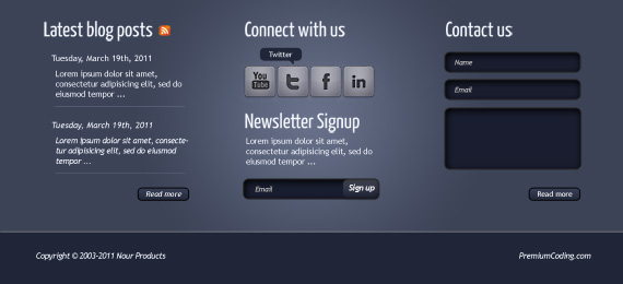 Nour: Footer PSD Template