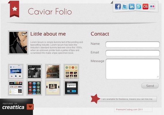 Free Premium HTML Landing Page: Caviar Folio - PremiumCoding