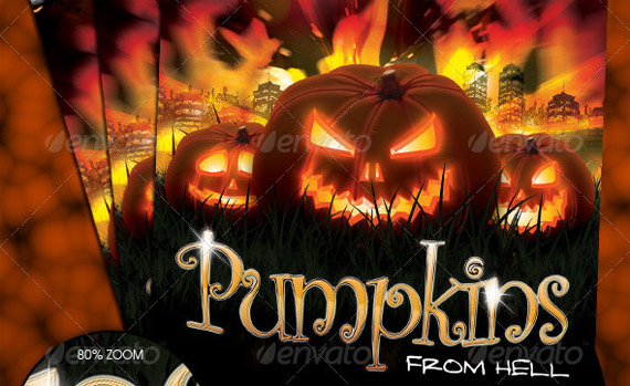 Halloween flyer template with pumpkins