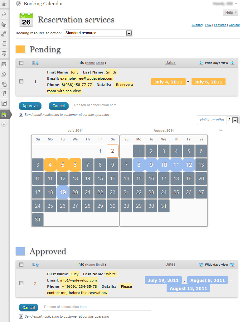 Booking calendar wordpress plugin