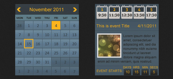 Blue Event Calendar PSD