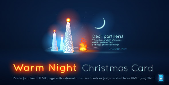 Warm christmas night card