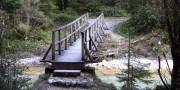 Wooden bridge over flowing current