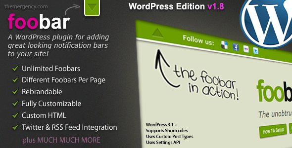 Foobar notification settings WP Plugin