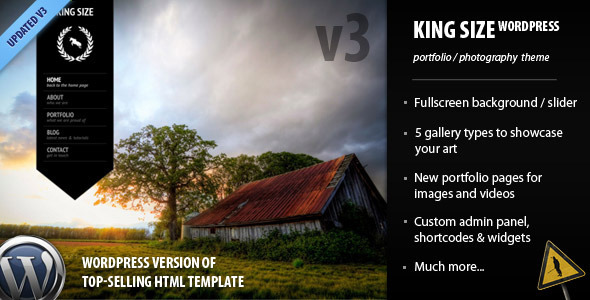 King size fullscreen wordpress photography template