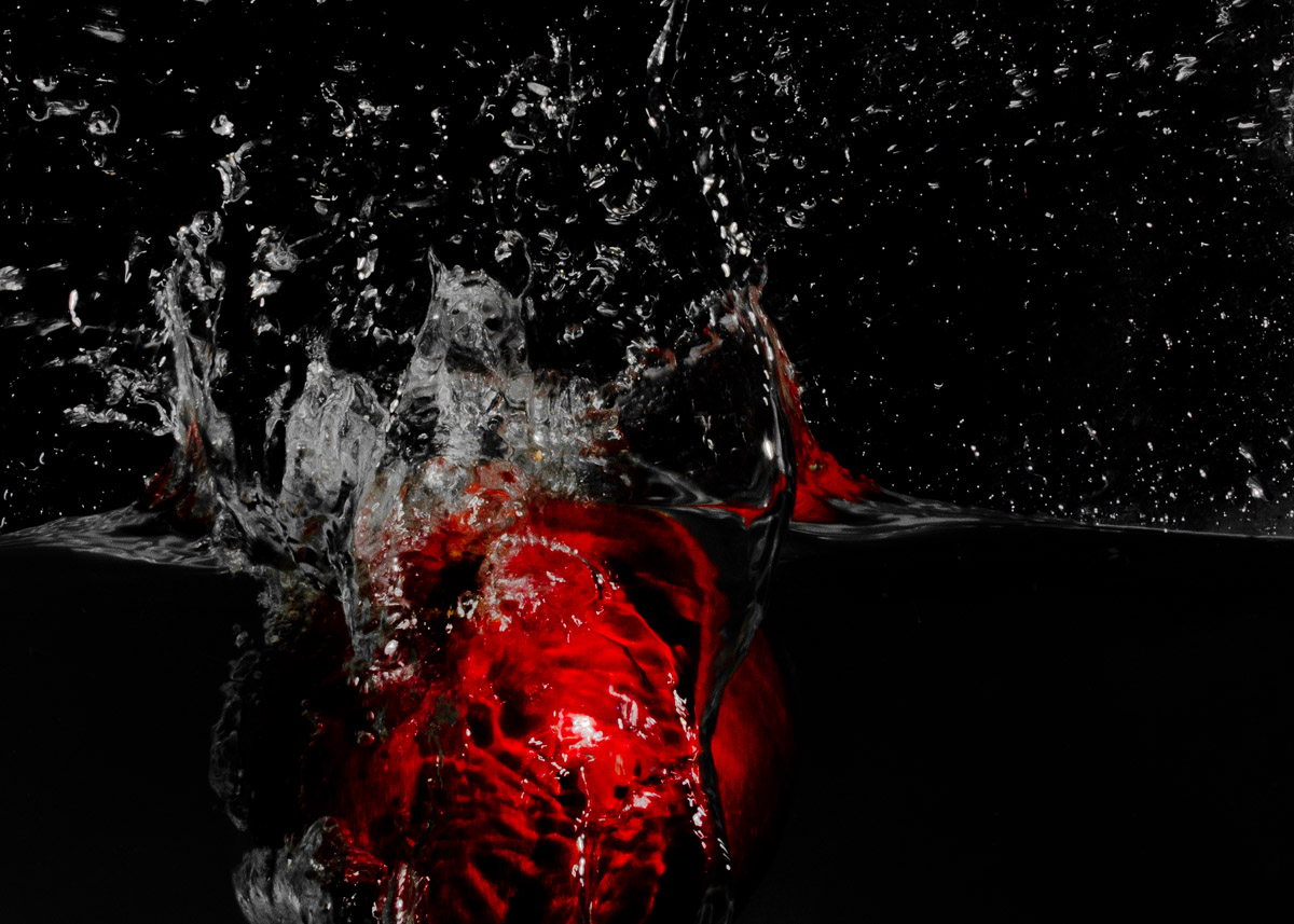 Pomegranate in a splash of water
