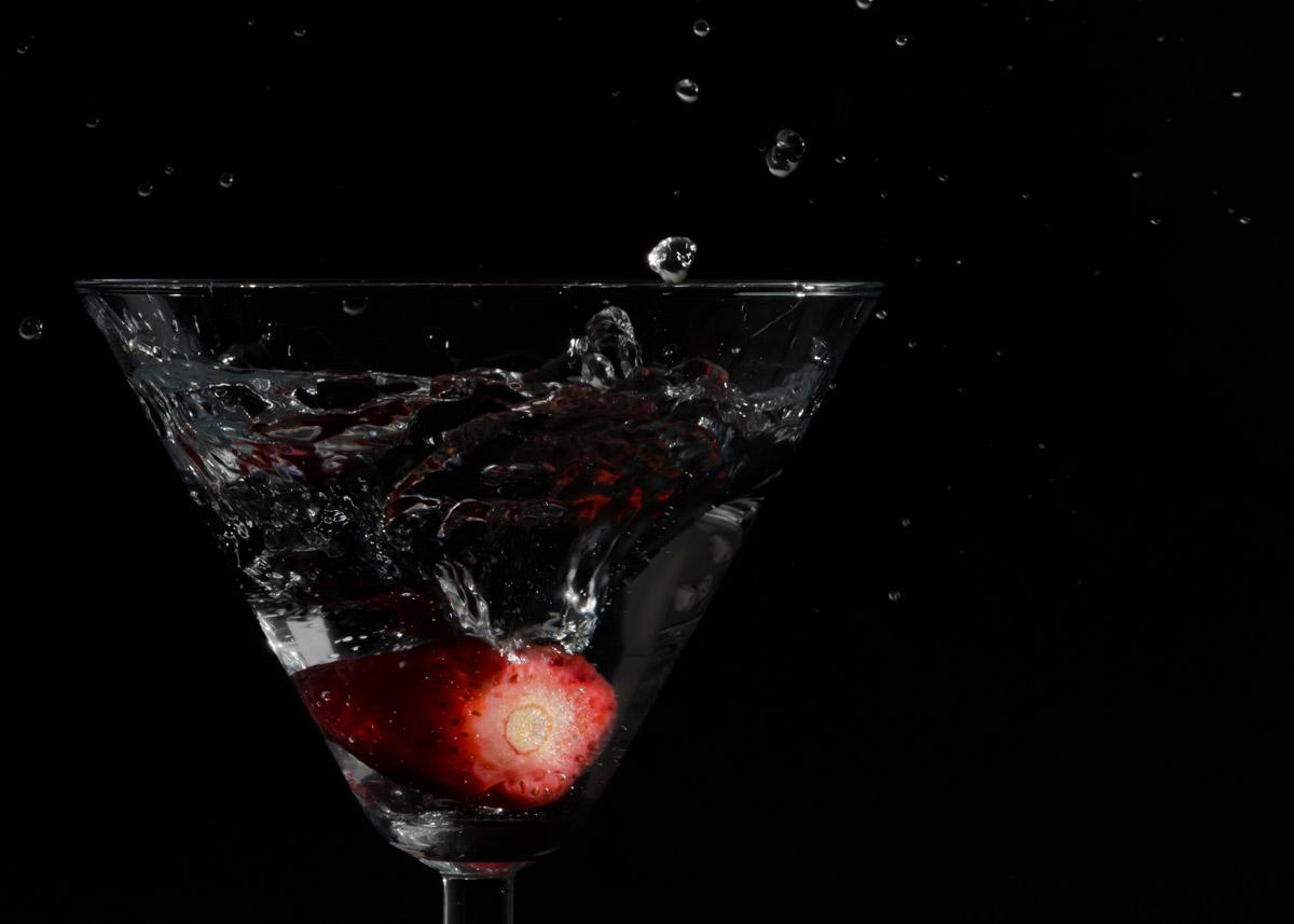 Strawberry in a martini glass