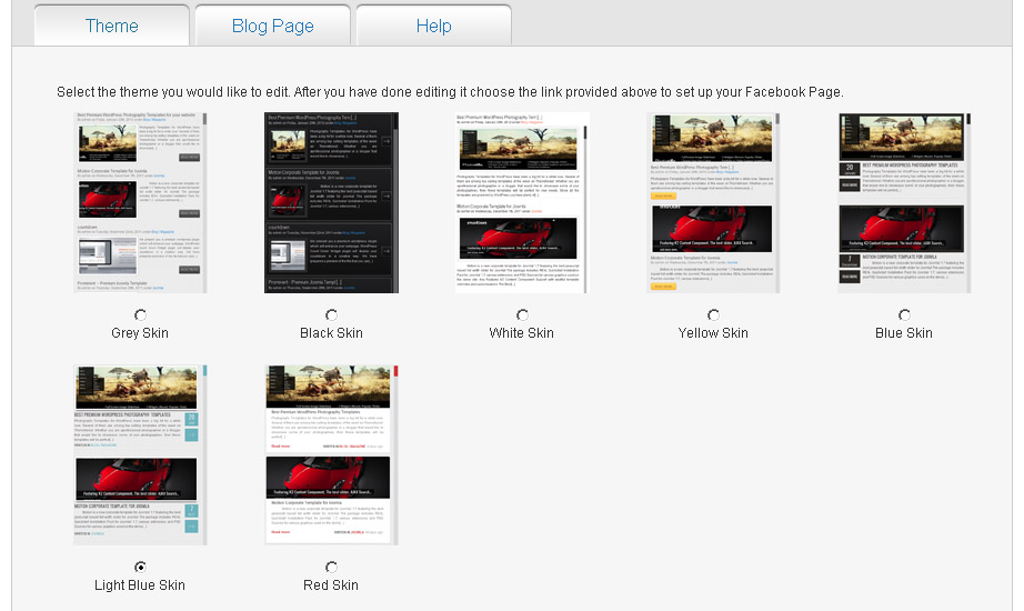 Predesigned skin for you Facebook Fan Page Blog
