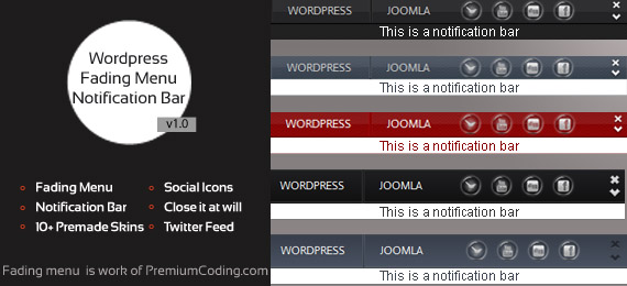 Fading Menu with notification Bar Wordpress Plugin