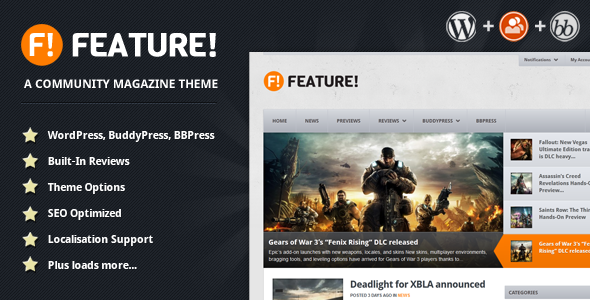 Feature buddypress wordpress theme