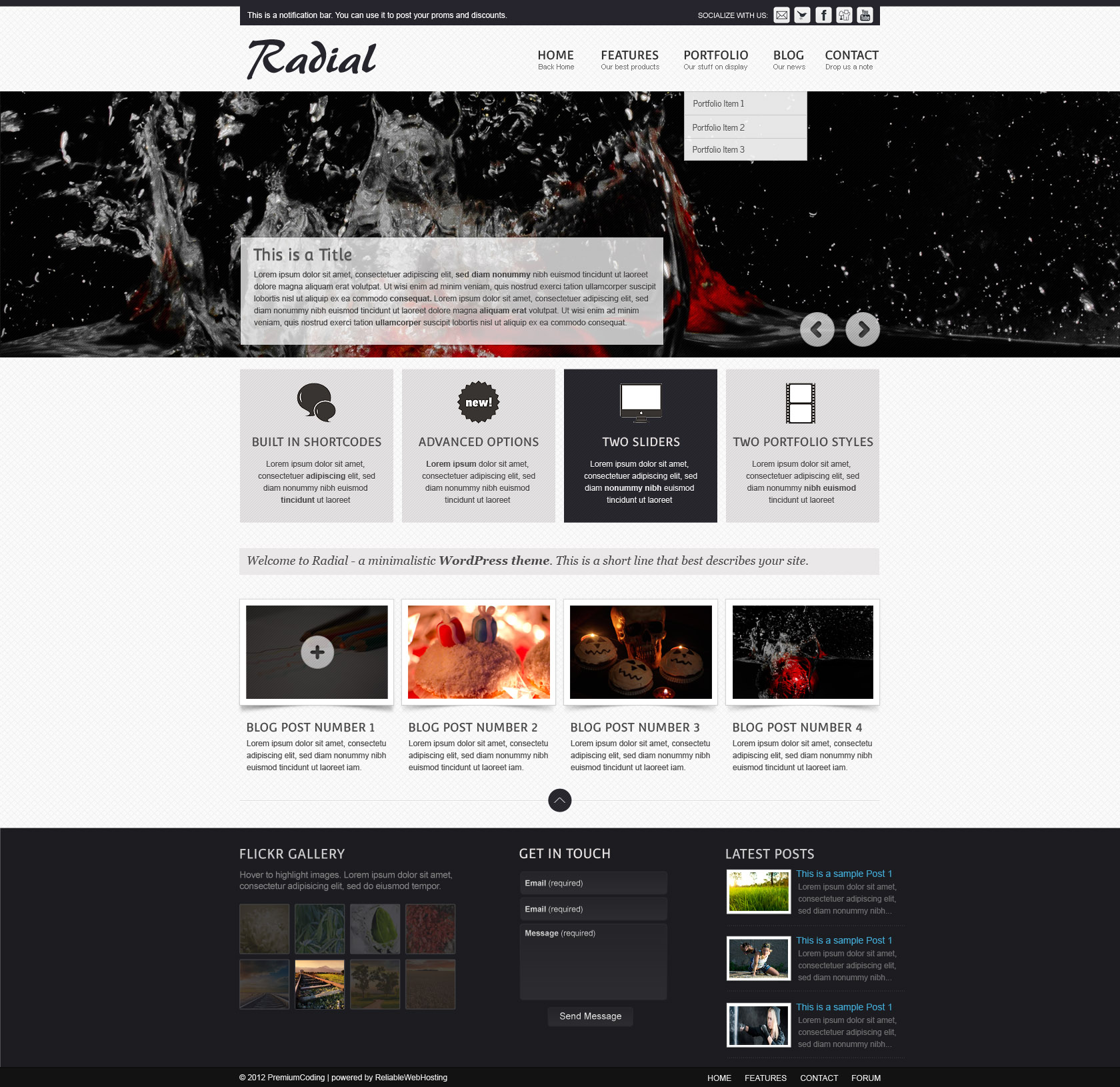 Freebie Radial Full Web Site Template PSD PremiumCoding - Website templates wordpress