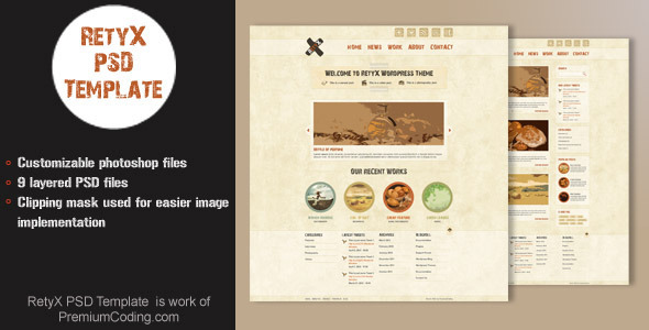 Retyx PSD website template