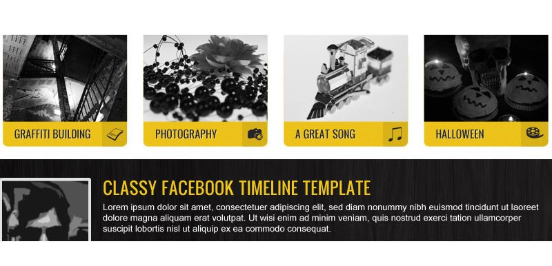Yellow Facebook Timeline Template (PSD)