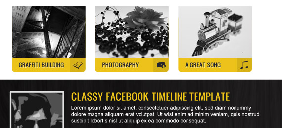 Yellow Facebook Timeline Template in PSD