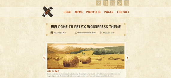 Retyx Wordpress theme in grunge and vintage design