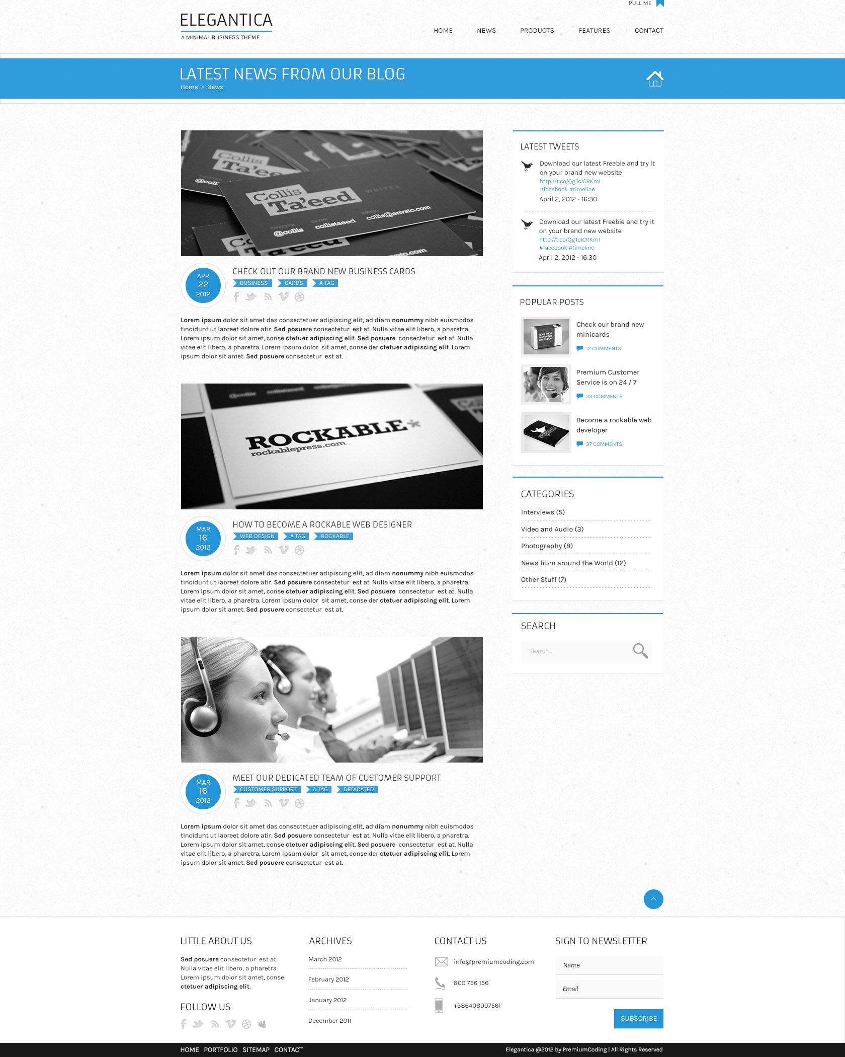 Blog Template for Business Theme (PSD)
