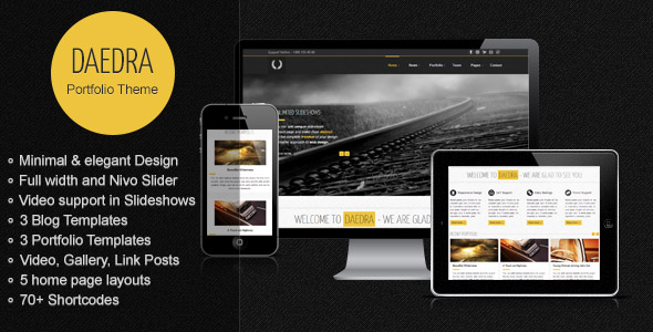 Responsive Portfolio & Business WordPress Theme: Daedra