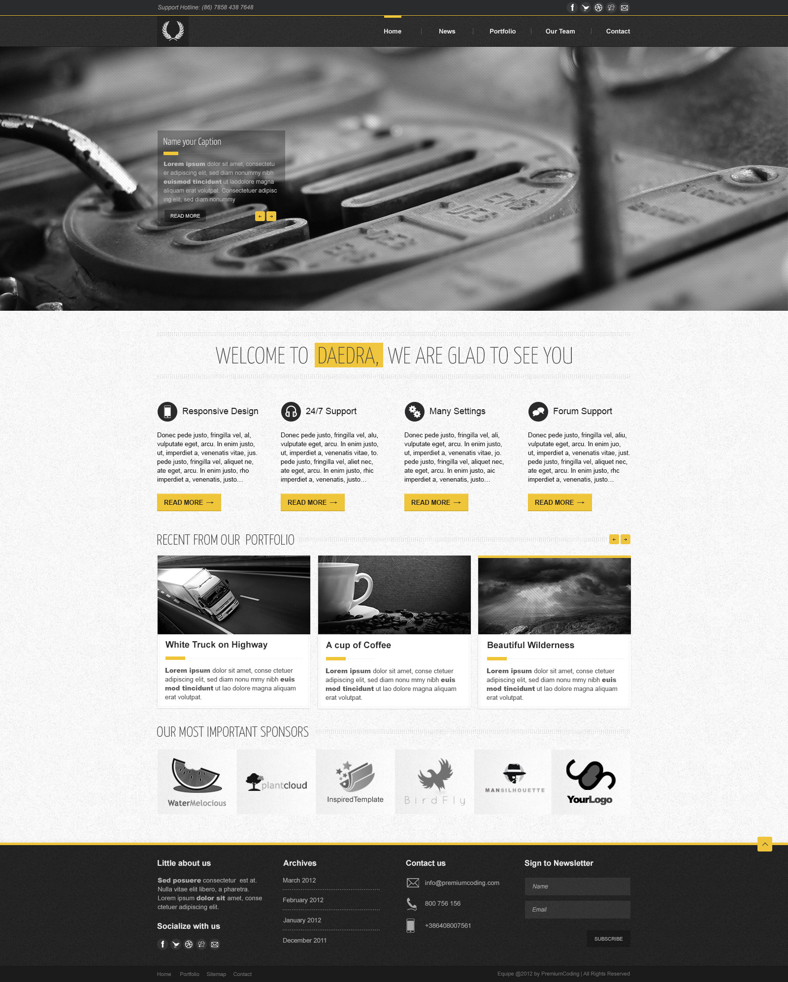 Daedra Portfolio Website Template in PSD