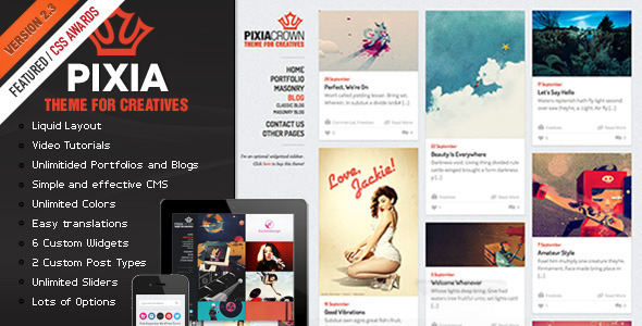 Pixia Portfolio WordPress Theme