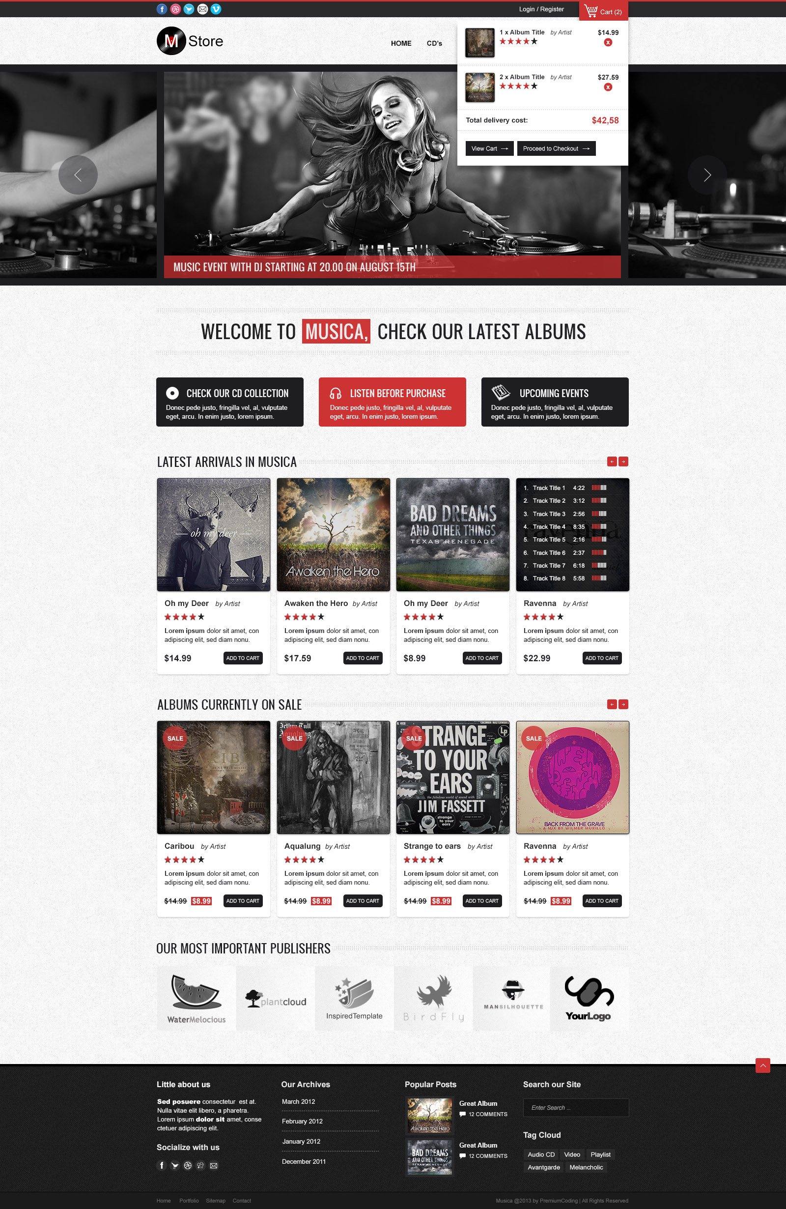 Musica psd ecommerce theme