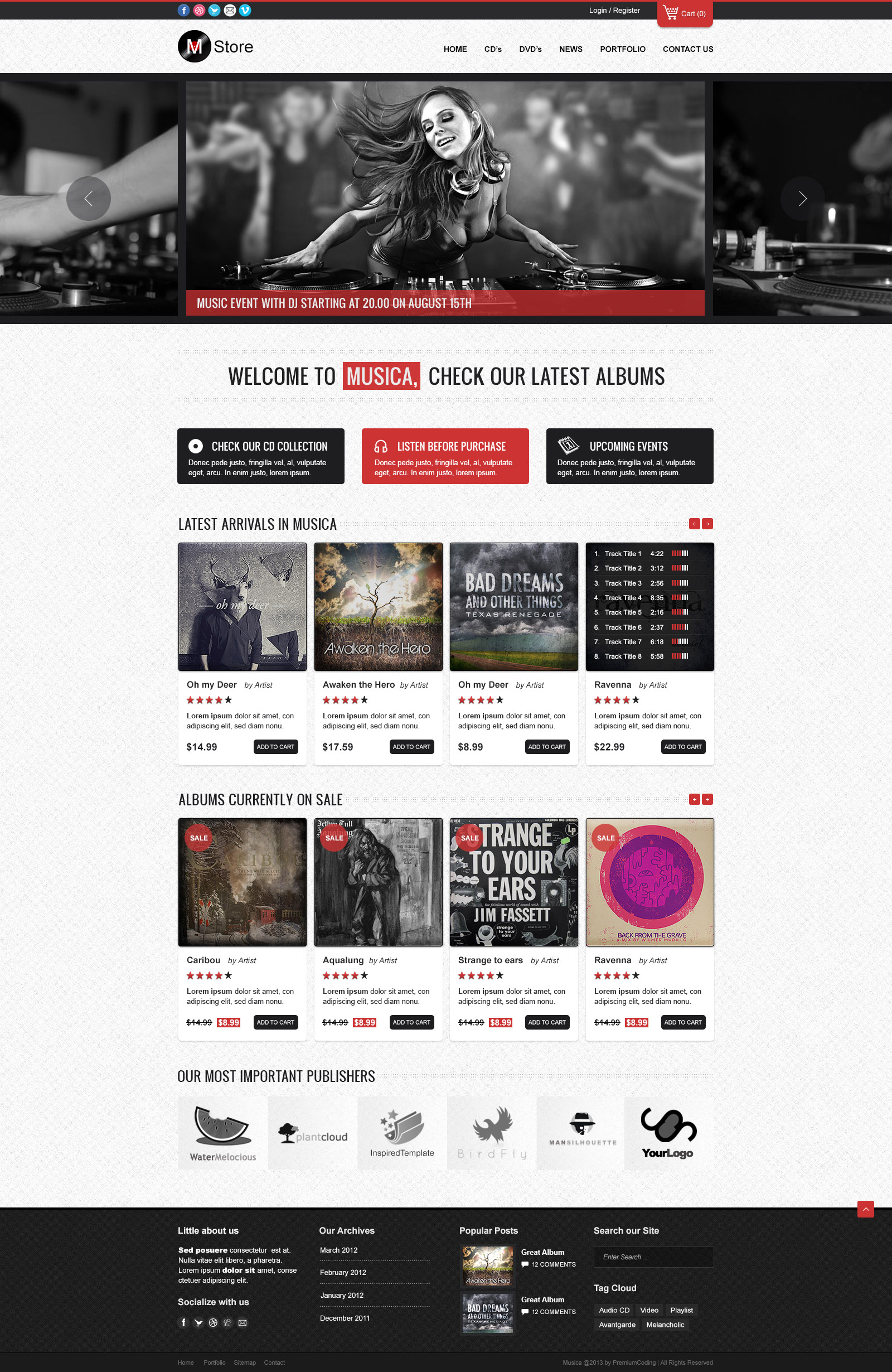 Freebie Musica Ecommerce Website Template Psd