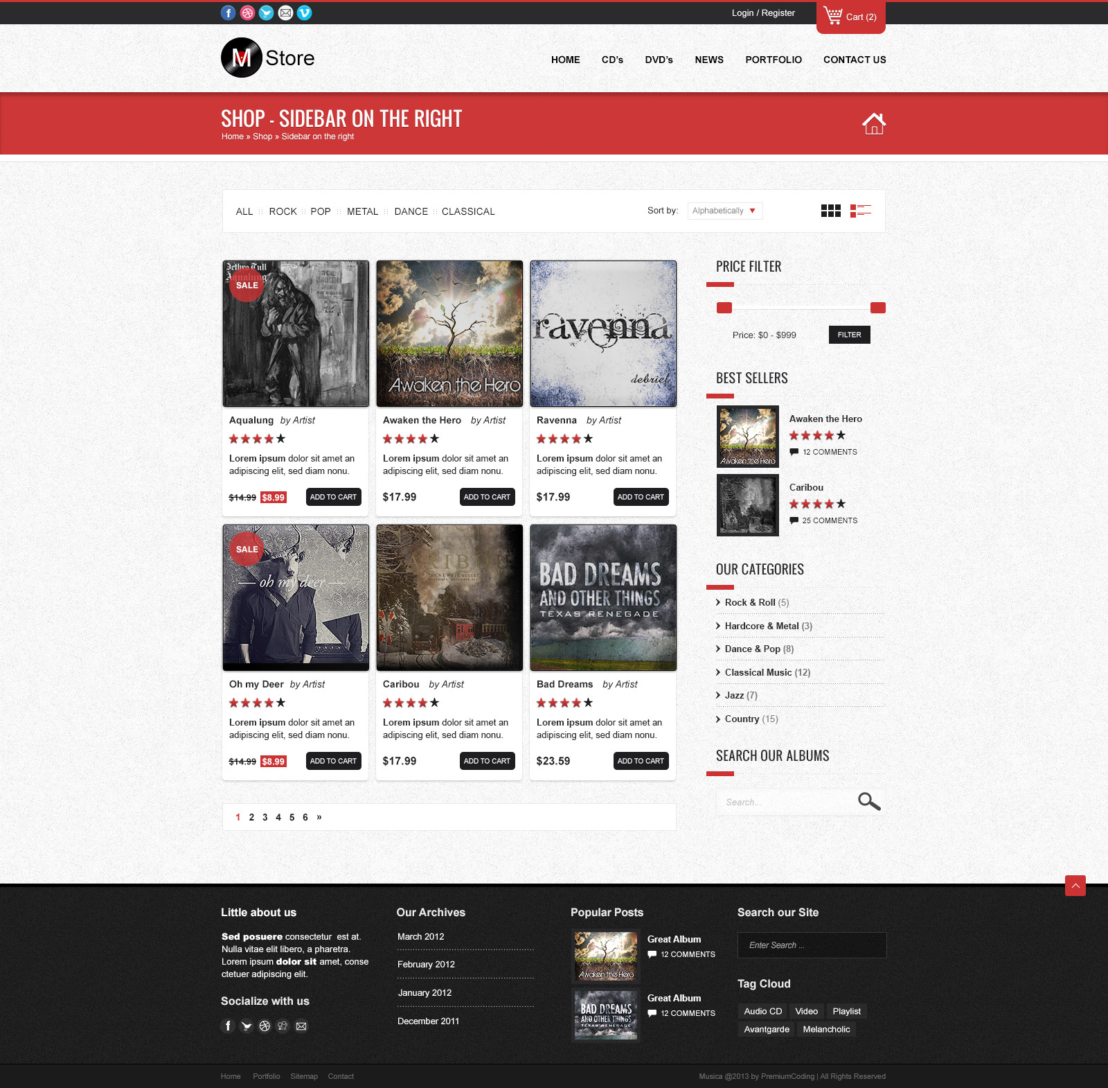 Shop Website Template (PSD) - Shop with Sidebar