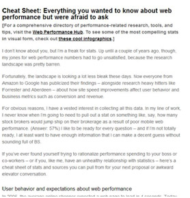 Web Performance Today Cheat Sheet