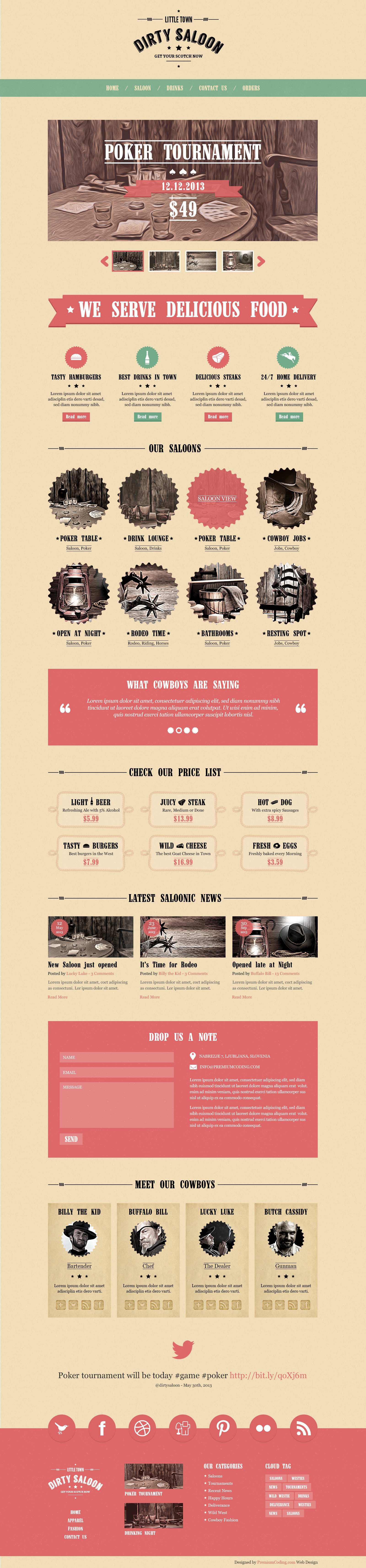 Dirty Saloon Website Template