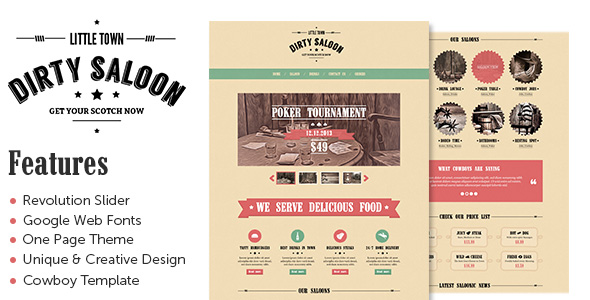 Dirty Saloon - A Rugged One Page Wordpress Theme