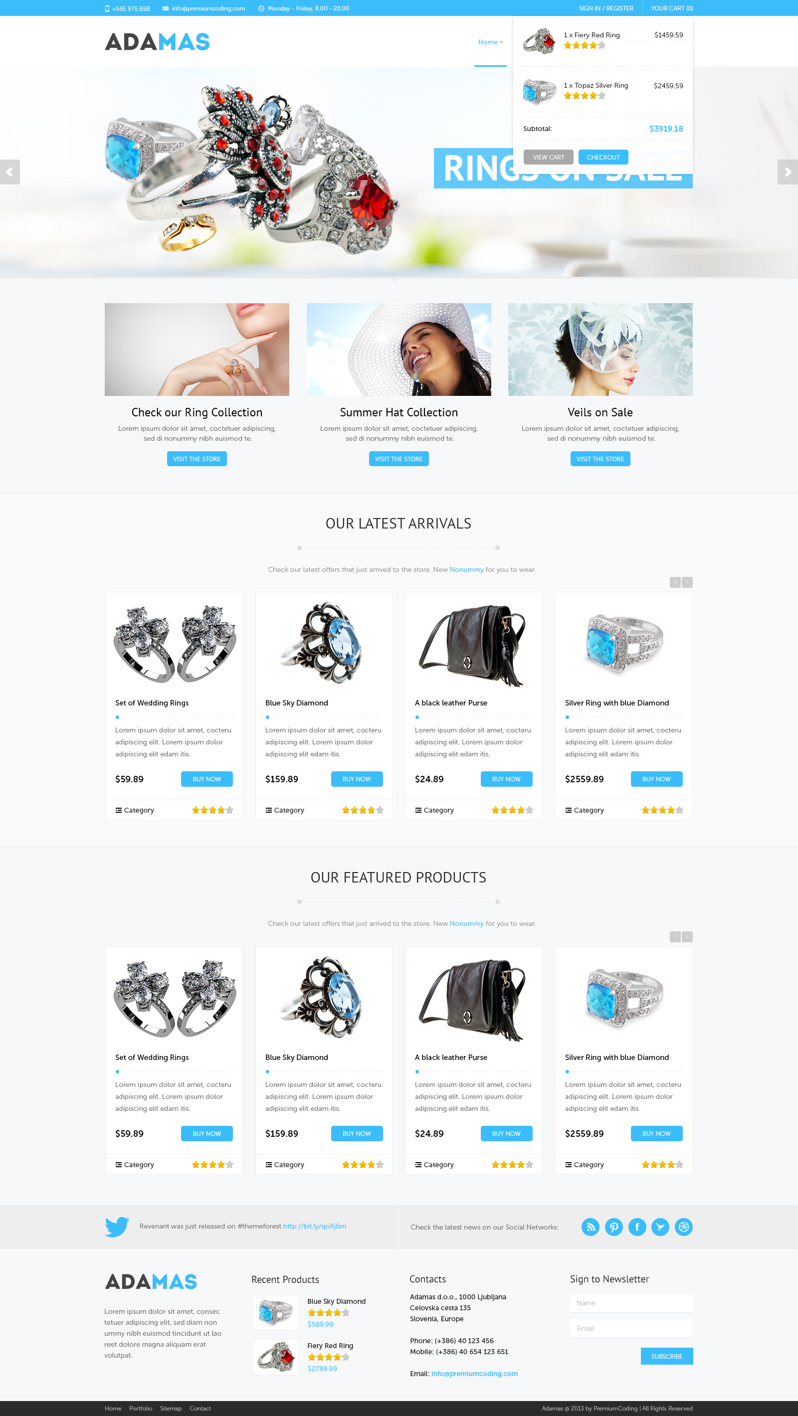 Freebie: Adamas Ecommerce Website PSD Template - PremiumCoding