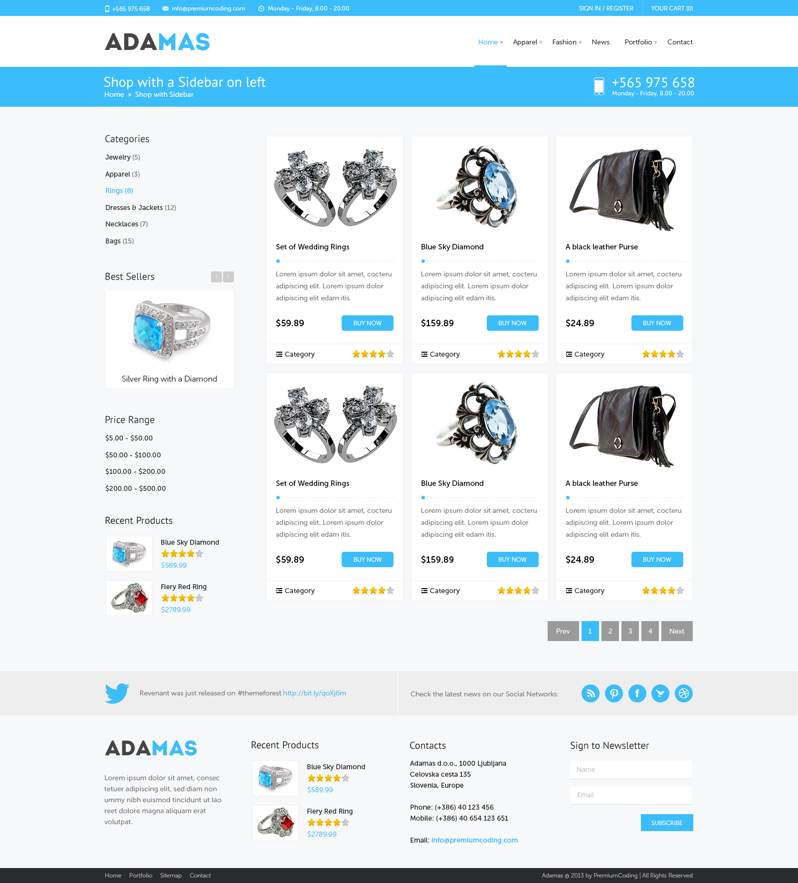 Freebie Adamas Ecommerce Website PSD Template PremiumCoding - Free ecommerce website templates shopping cart