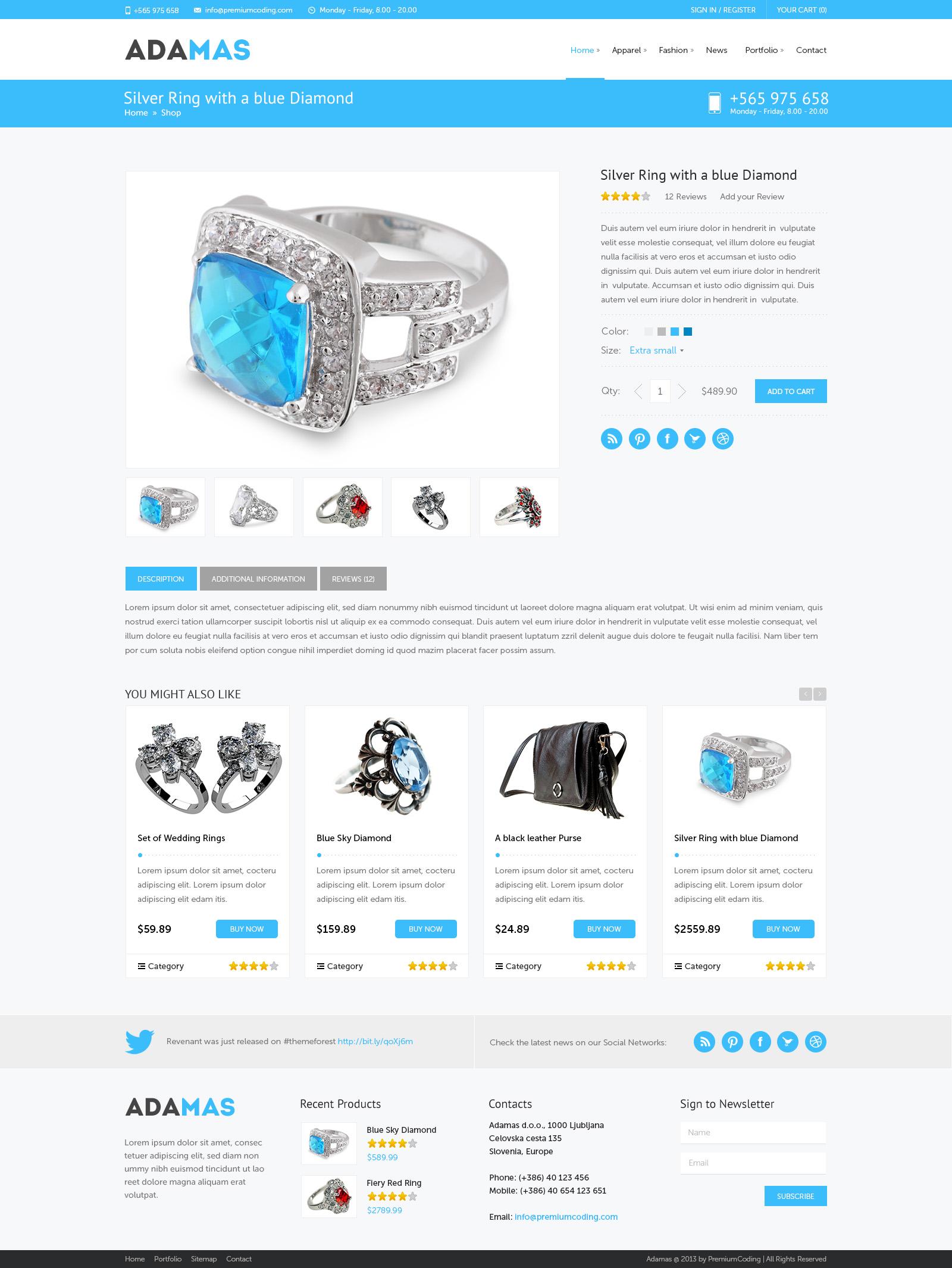 freebie adamas ecommerce website psd template premiumcoding. Black Bedroom Furniture Sets. Home Design Ideas