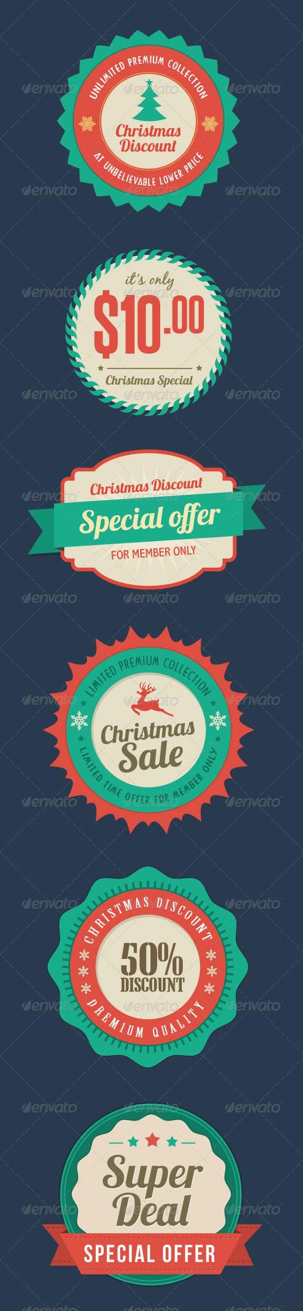 Flat Christmas Sale Badges