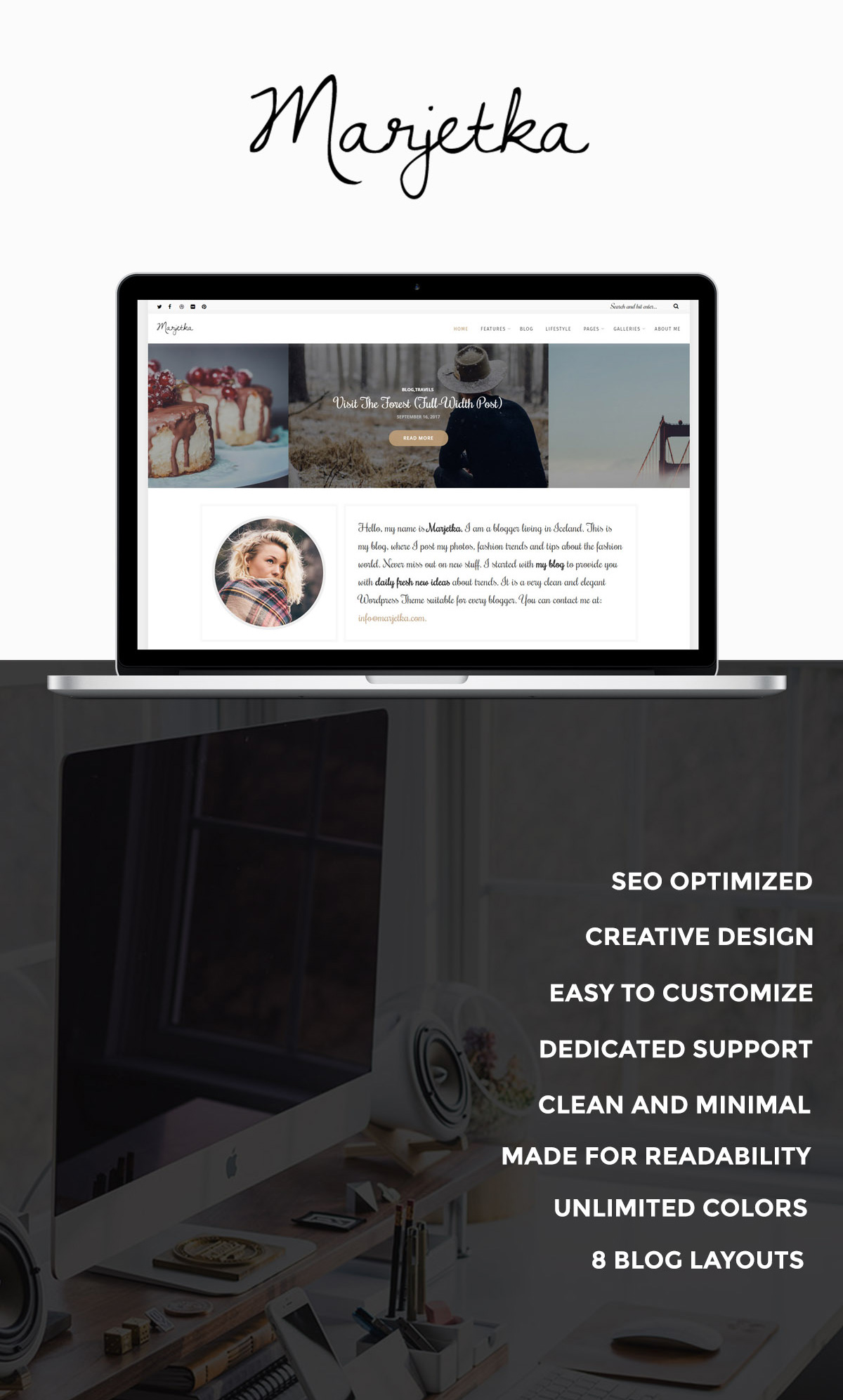 WordPress theme Marjetka - A Responsive Feminine WordPress Blog Theme (Personal)