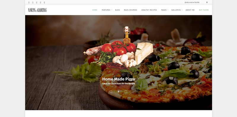 narya wordprss food and pizza blog theme