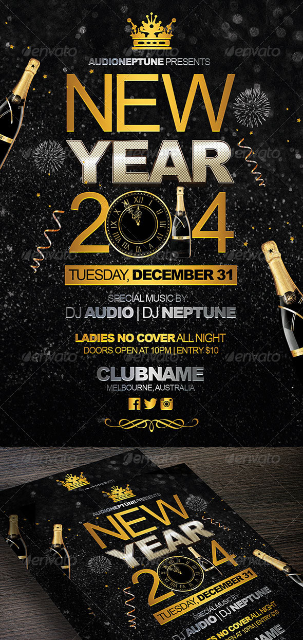 Elegant New Year Flyer in dark design