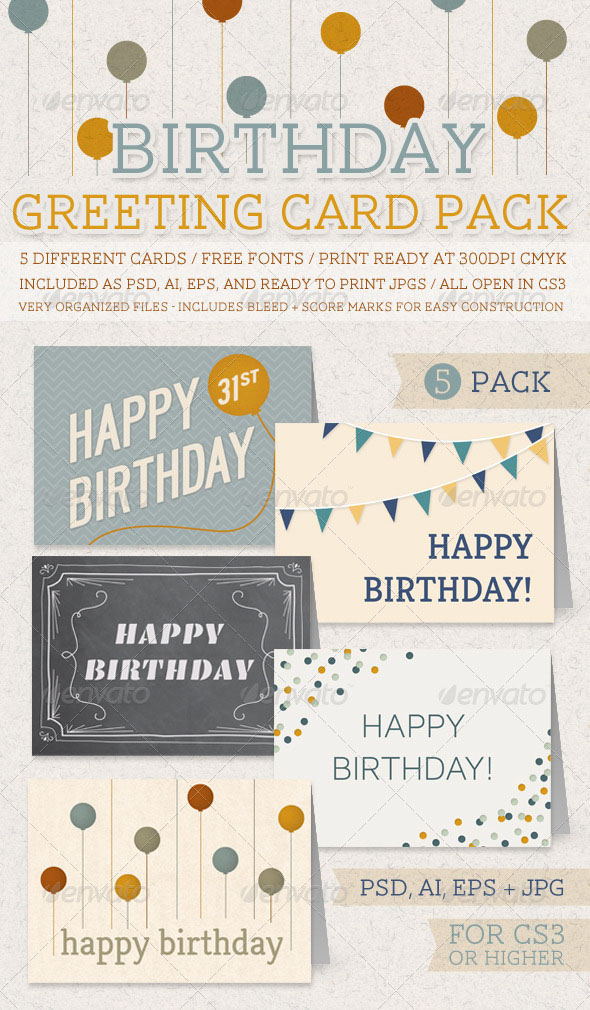 10 best birthday cards and invitations PremiumCoding – Packs of Birthday Cards