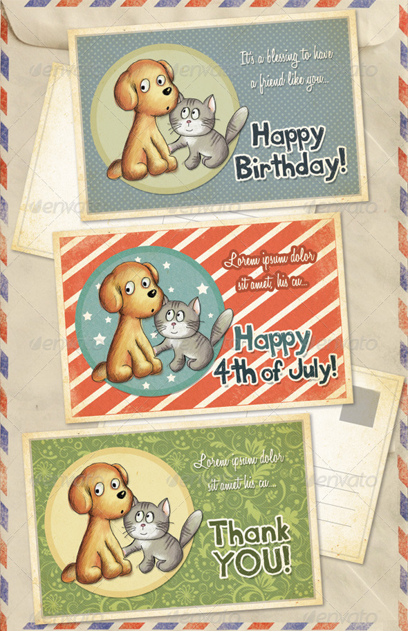 Birthday 4th Of July And Thank You Greeting Cards