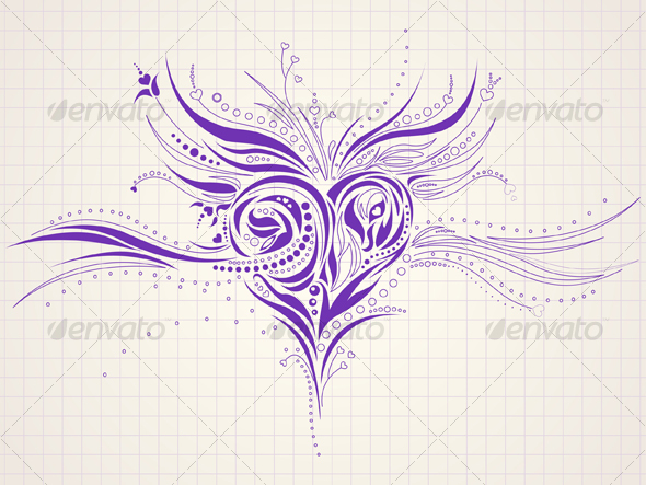 Hand-drawn artistic heart doodle
