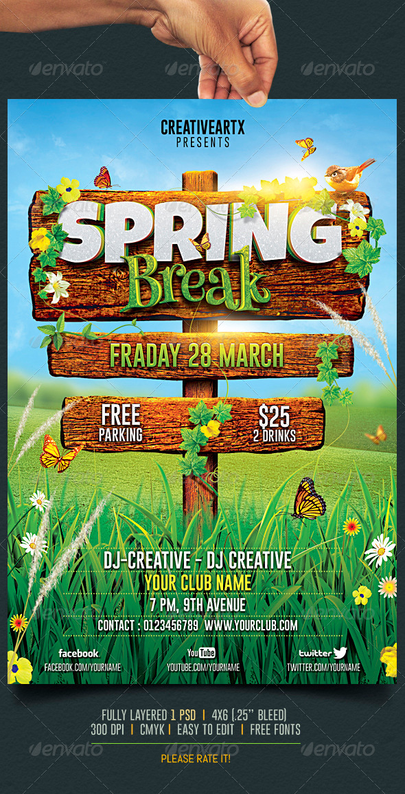10 Best Spring Break Flyer Templates - Premiumcoding