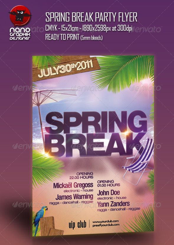 Best Spring Break Flyer Templates  Premiumcoding
