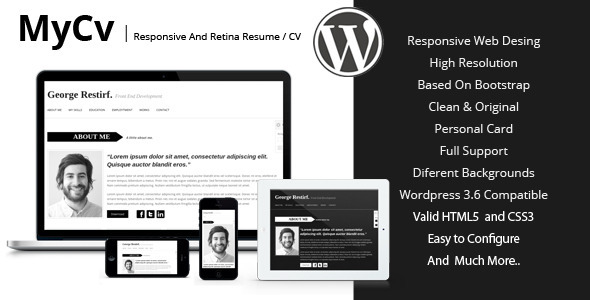 mycv fully responsive wordpress template that is ideal for the self employed as programmers or designers this is a unique looking template - Wordpress Resume Template