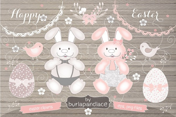 Happy Easter Bunny Cliparts