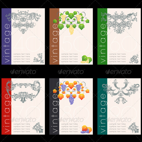 Wine Labels Design Template Set  Label Design Templates